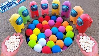 Different Toy Bouncy Ball Experiment Cola Cola, Fanta, Mirinda, Pepsi, Sprite football and Mentos