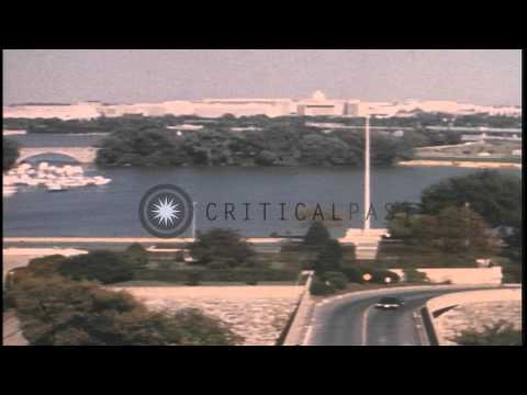 Views of the center court of the Pentagon and the Potomac River in Virginia, Unit...HD Stock Footage