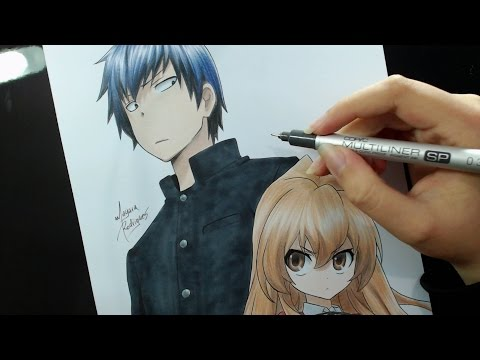 Speed Drawing - Takasu Ryuuji and Aisaka Taiga (Toradora)
