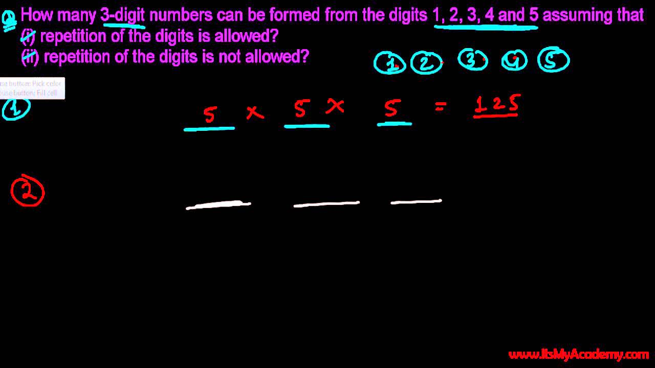 Total 3 Digit Numbers If Repetition allowed & Not allowed - Permutations &  Combinations Problems