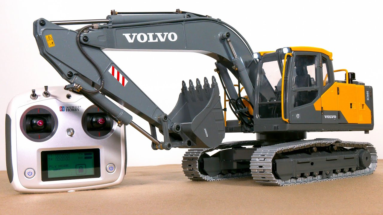 RC HYDRAULIC EXCAVATOR VOLVO EC160E UNBOXING, FIRST TEST!! SCALE 1/14, RTR, FULL METAL, 10 KG WEIGHT