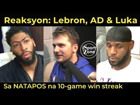 REAKSYON ni Lebron, Davis at Luka sa NATAPOS na 10-Game Win Streak ng Lakers.