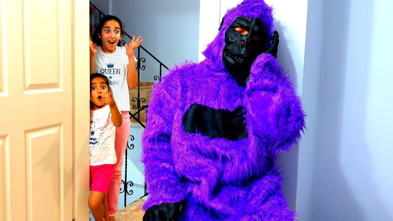 Esma and Asya Cute Gorilla Pretend play with for kids video