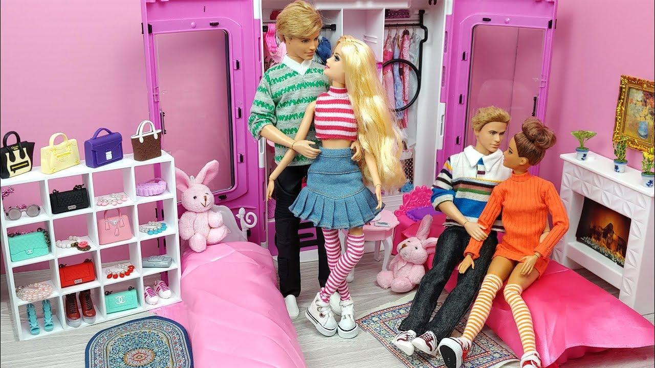 🧡BARBIE & KEN MORNING ROUTINE BEDROOM BREAKFAST🧡Barbie Ken poupées  matinale chambre de routine