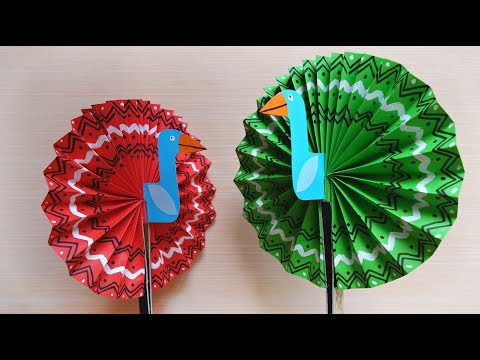 Peacock paper fan | Easy summer crafts for kids