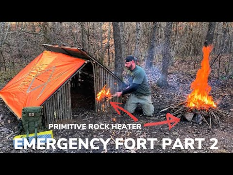 Solo Overnight Building an Emergency Fort In The Woods PART 2 and BBQ Western Bacon Cheese Burgers