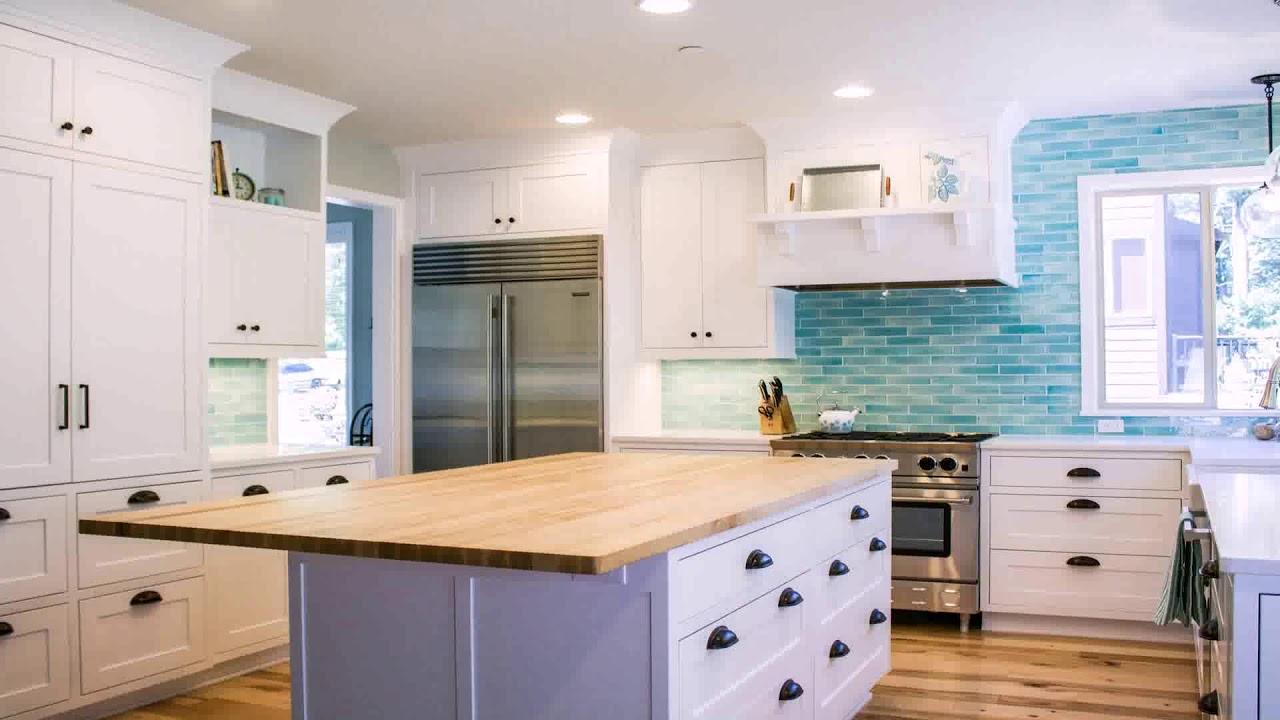 White Kitchen Cabinets With Aqua Backsplash Youtube