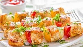 Сёмга на шпажках с овощами.шашлычок из лосося.( Жареный на сковороде)