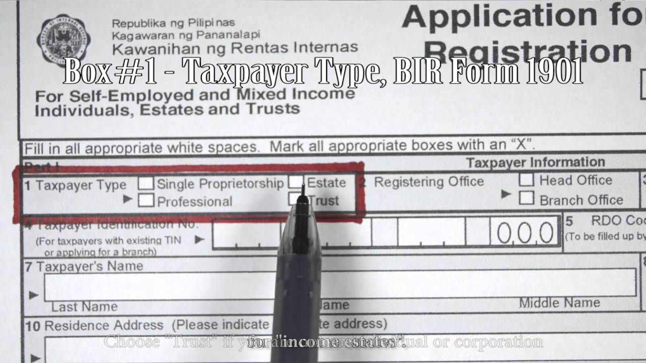 Box#1 - Taxpayer Type, BIR Form 1901 - YouTube on application to join motorcycle club, application for employment, application database diagram, application to date my son, application for scholarship sample, application for rental, application meaning in science, application template, application trial, application service provider, application clip art, application error, application approved, application cartoon, application insights, application to rent california, application in spanish, application to join a club, application submitted, application to be my boyfriend,