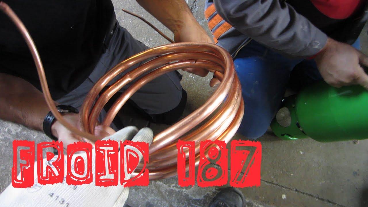 Froid187 fabrication d 39 un condenseur eau perdue changeur coaxial youtube - Faire une clim avec un ventilateur ...