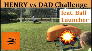 Henry vs Dad: Ball Launcher Challenge | Dad vs Son Competition | Who will beat the Ball Machine ?
