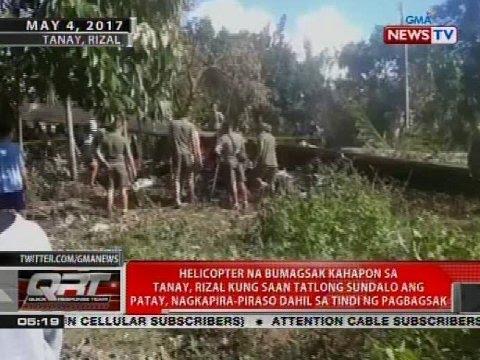 Helicopter na bumagsak kahapon sa Tanay, Rizal, nagkapira-piraso dahil sa tindi ng pagbagsak