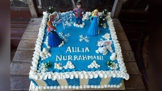 CARA MUDAH MENGHIAS KUE ULANGTAHUN DISNEY FROZEN / HOW TO DECORATED BIRTHDAY CAKE