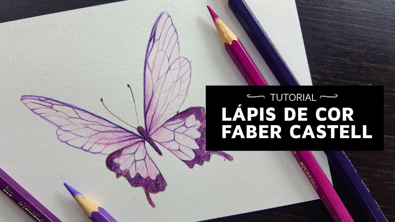 Pintura BORBOLETA I Faber Castell Aquarela I Márcio Graff