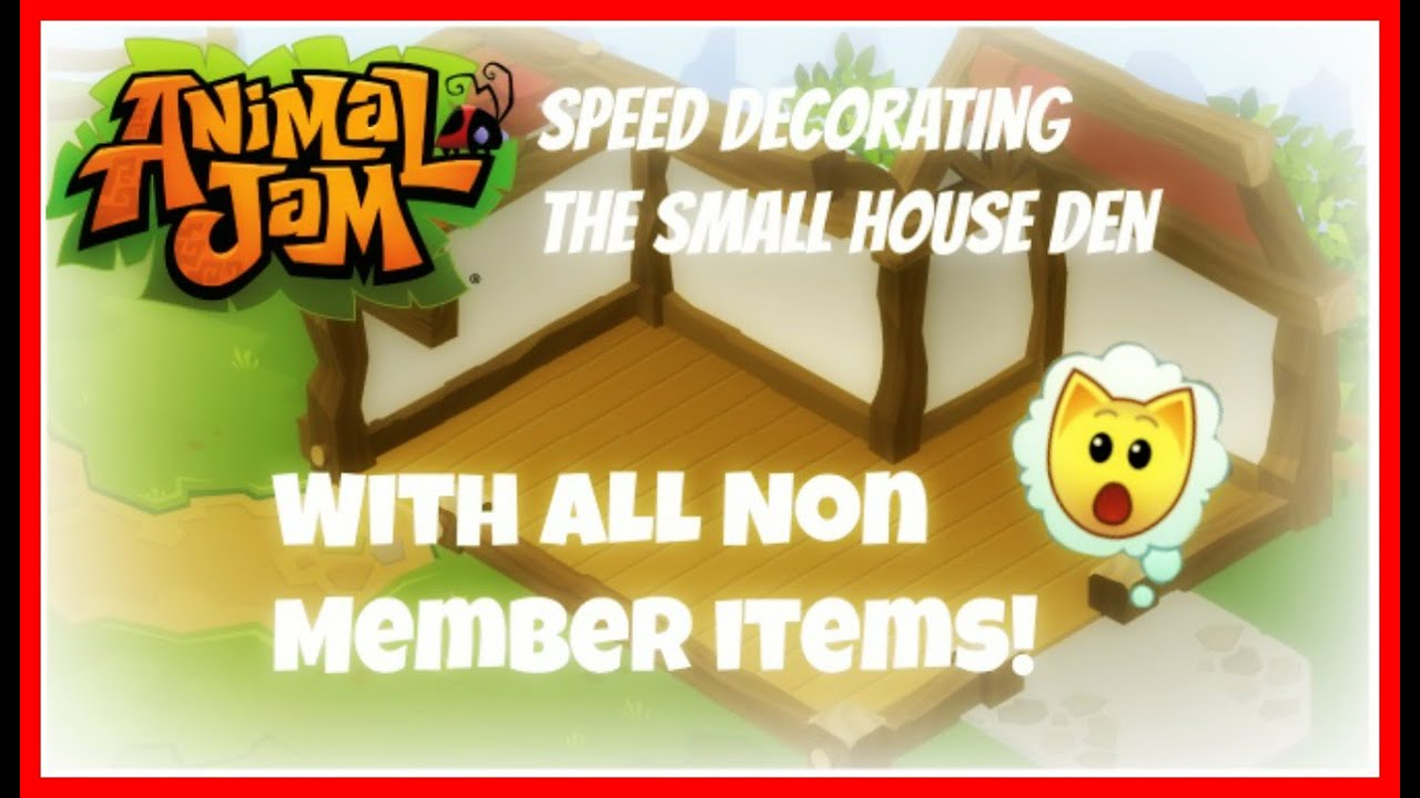 Animal Jam Speed Decorating The Small House Den With Just Non Member Items Youtube