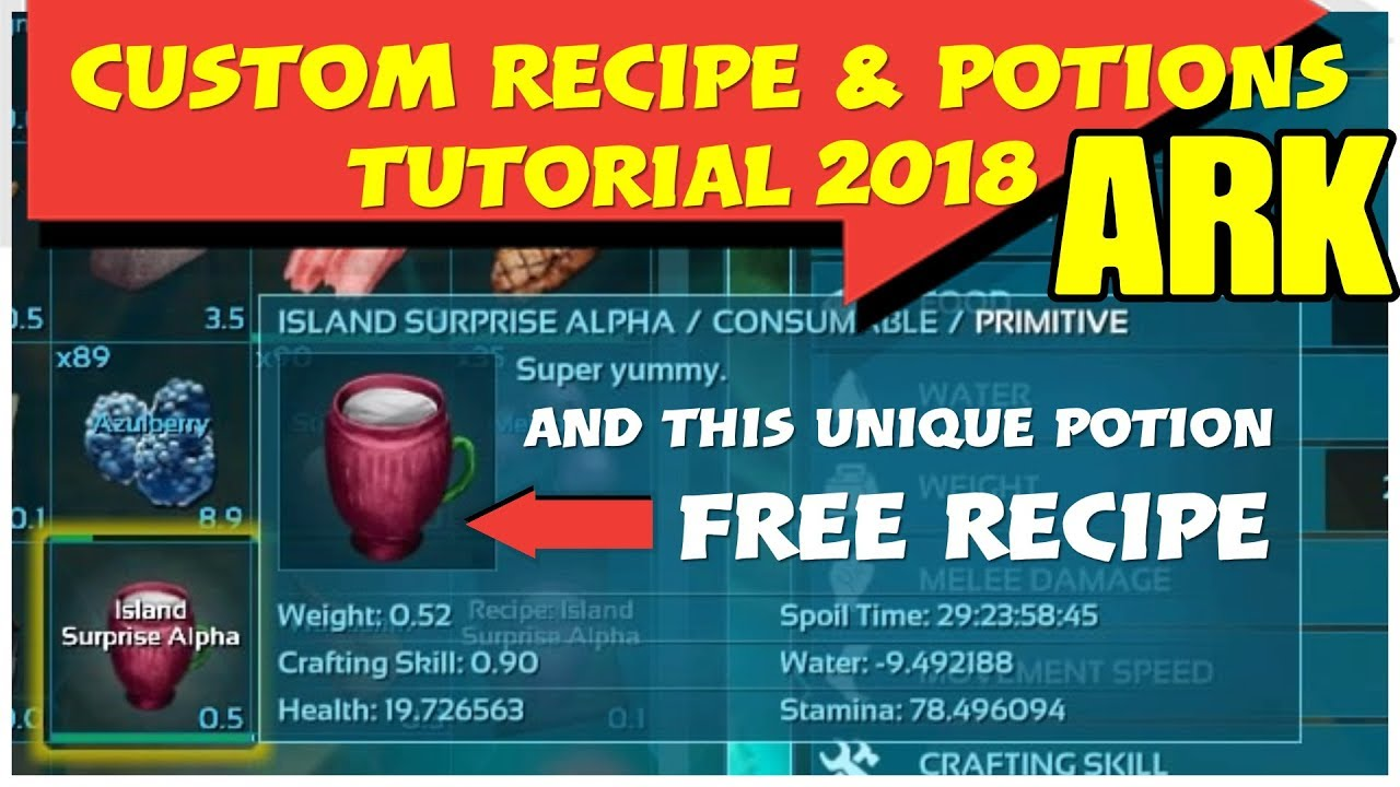 Ark Custom Recipe How To Free Recipe Potion To Boost Stats Youtube