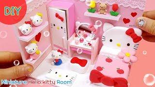 [DIY Miniature Hello Kitty Room~ kitty bed , dressing table, wardrobe ~] 헬로우 키티 방 만들기