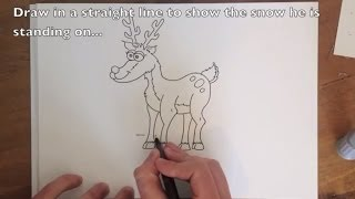 How to Draw Rudolph the Red Nosed Reindeer - Easy Step by Step Tutorial