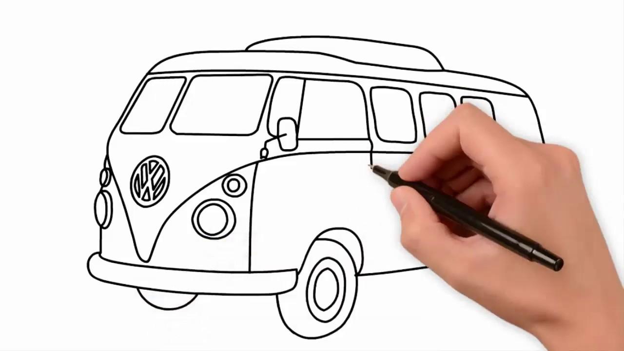Menggambar Mobil Volkswagen Generasi Ke 2 Atau Vw Kombi Menggambar Mewarnai Mobil Dengan Mudah Youtube