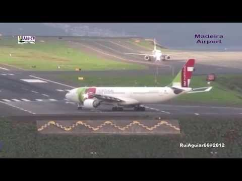 Madeira Airport various airlines landings takeoffs Transavia, Tap Portugal, Airbus A330-200