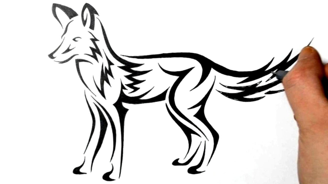 drawing fox - tribal tattoo design