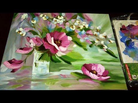 Как рисовать маслом цветы! Рисуем кистями, мастихином, пальцами и мои секретики)