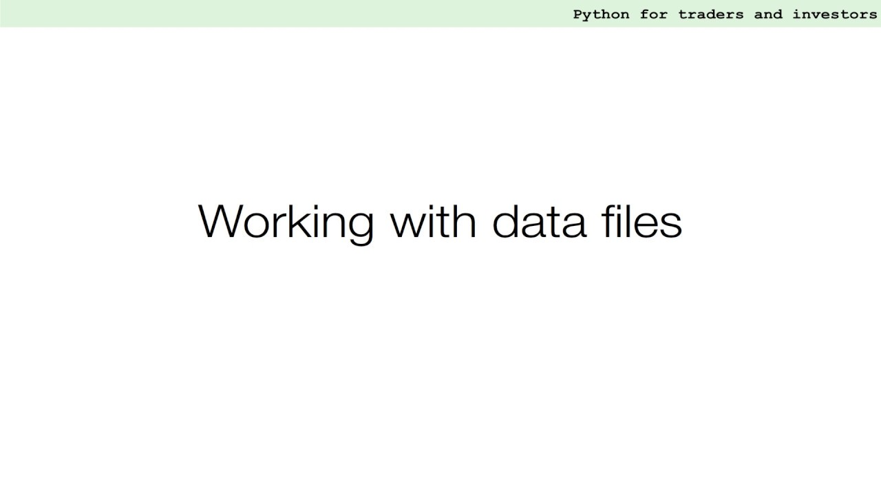 Efficient Processing Of Financial Data Files | Python for Financial Analysis and Algorithmic Trading