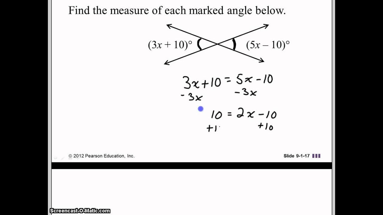 Find The Measure Of Each Marked Angle Youtube