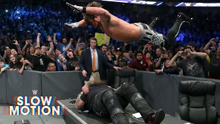 See AJ Styles put Bray Wyatt through a table in slow motion!: Exclusive, Feb. 17, 2017