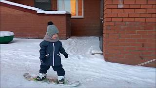 Урок 1 Савушка на сноуборде (2 года 8 месяцев)