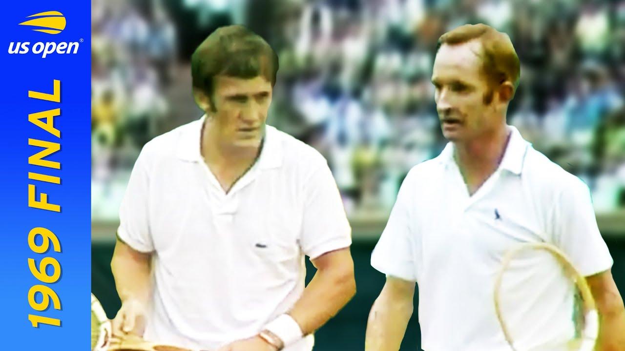 Rod Laver vs Tony Roche in pursuit of the first Open Era Grand Slam!   US Open 1969 Final