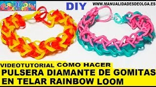 Repeat youtube video COMO HACER UNA PULSERA MODELO DIAMANTE DE GOMITAS (LIGAS). TELAR RAINBOW LOOM TUTORIAL ESPAÑOL DIY