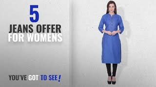 Top 10 Jeans Offer For Womens [2018]: BLUEPOCKET Denim Kurti / Kurta for women(Royal Blue)
