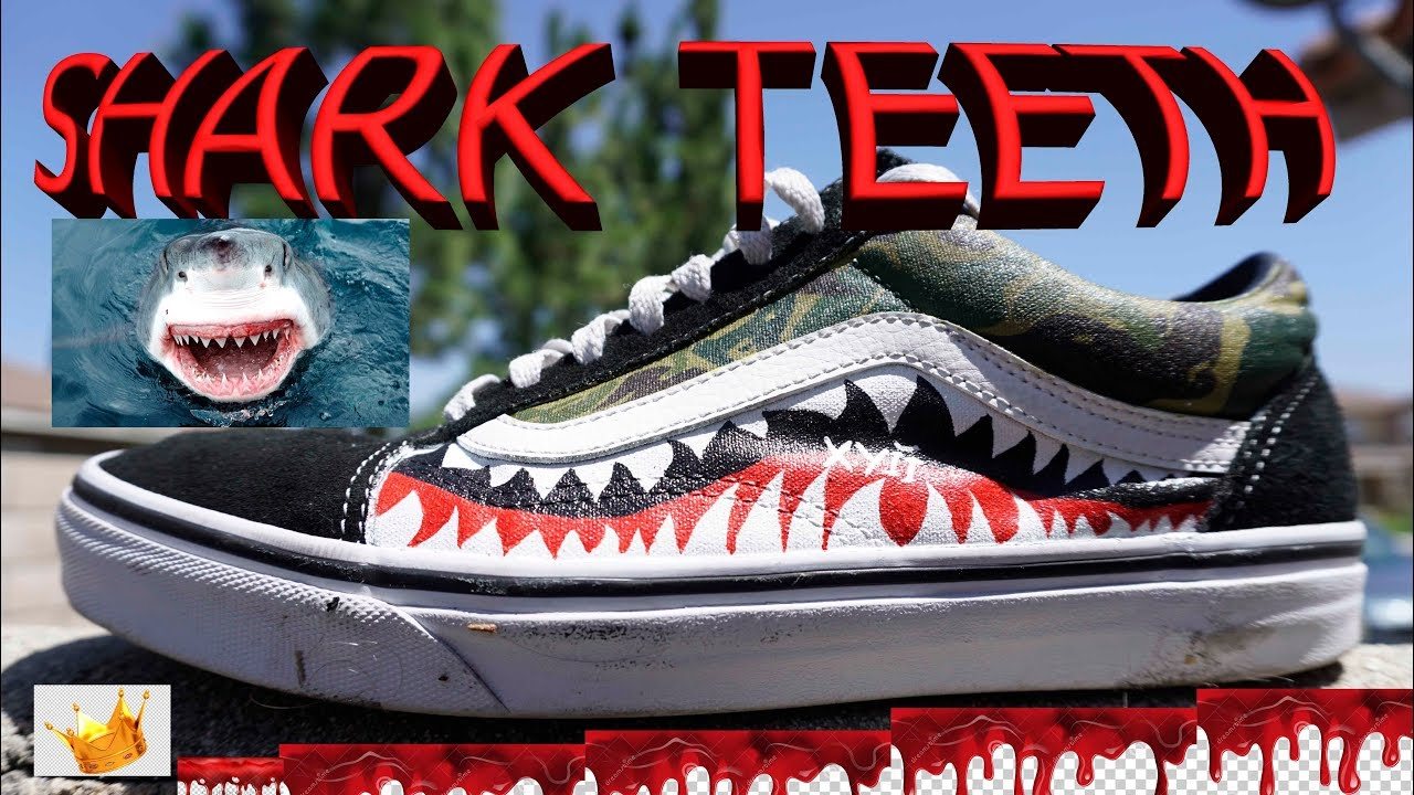 aab8b6bbdcea9f DIY CUSTOM BAPE SHARK TEETH + FLAME VANS - YouTube