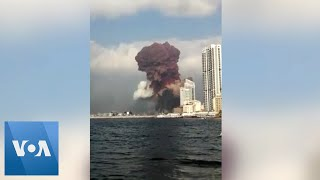 Beirut Explosion Seen From Nearby Boat