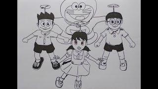 Cara Menggambar Doraemon, Nobita, Shizuka, dan Suneo Sedang Menggunakan Baling-baling Bambu
