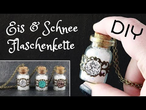 schnee eis mini flaschen kette weihnachten geschenk selbst machen winter schmuck diy. Black Bedroom Furniture Sets. Home Design Ideas