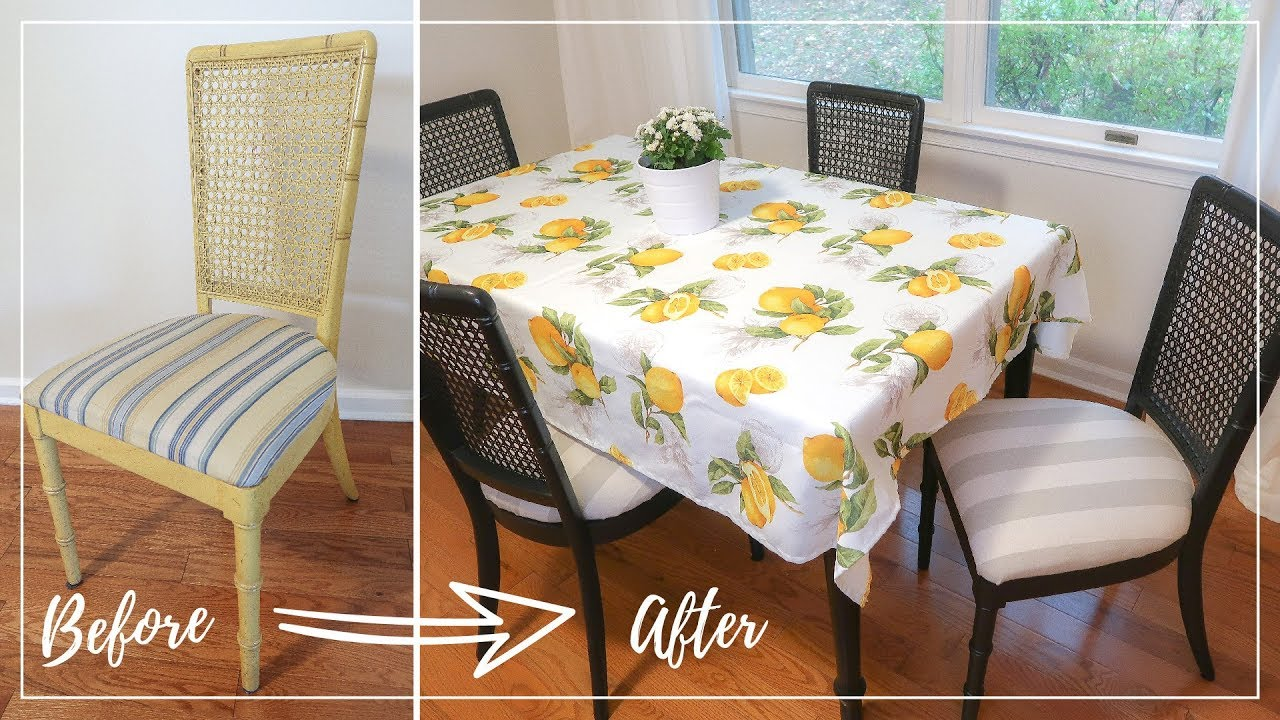 Diy Dining Chair Makeover Diy Chair Upholstery Spray Painted Furniture Ideas Youtube