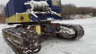 Кран МКГ 40, переганяли і лопнула гусениця