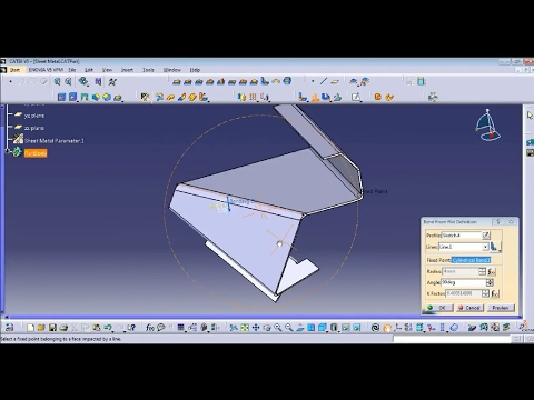 Catia Sheet Metal tutorial exercise for beginners including edge and bend