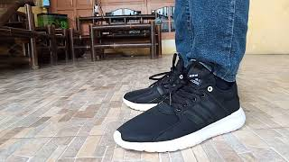 Sepatu Adidas Neo Cloudfoam Hitam Running Premium Original Casual Pria