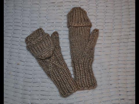 Варежки митенки спицами. Палец индийским клином