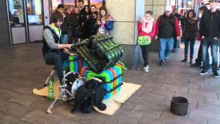 Street Improvisation Neon Pipe Drummer