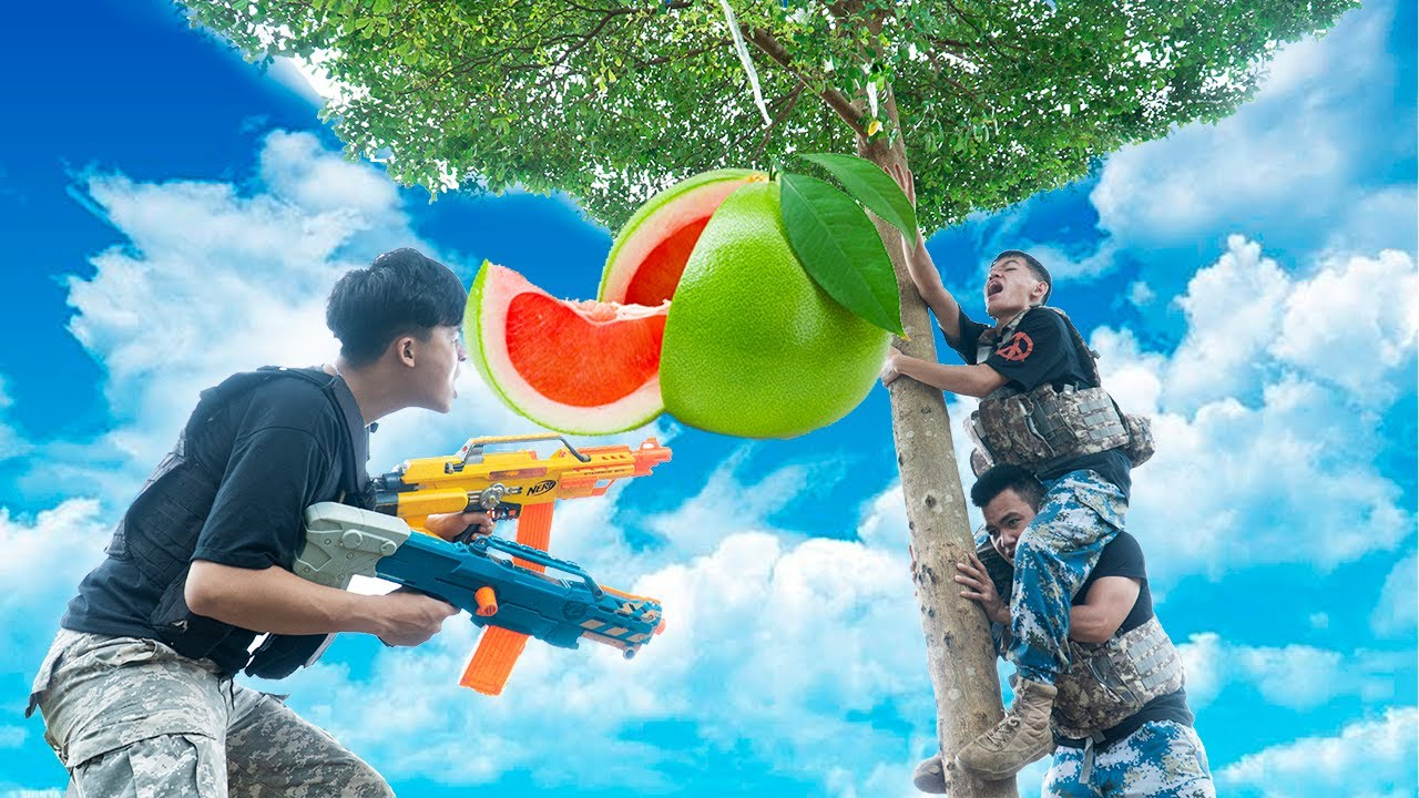Battle Nerf War: Planter & Blue Police Nerf Guns Robbers Group CANTALOUP BATTLE