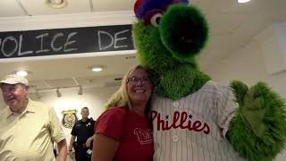Phillie Phanatic Visits the Community Policing Center in Downtown Newark
