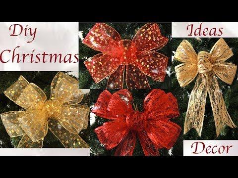 Como hacer Moños para decorar el árbol de Navidad hechos de una sola tira de cintas