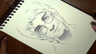 C 243 mo dibujar a harry potter en 3 minutos timelapse how to draw harry