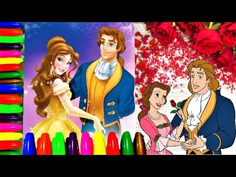 Disney Princess Belle and Prince Adam I Coloring Pages for Kids I Lucky Colors YouTube