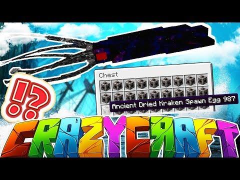 DEFEATING THE KRAKEN - MINECRAFT'S OLDEST MOD PACK CRAZY CRAFT SURVIVAL #20