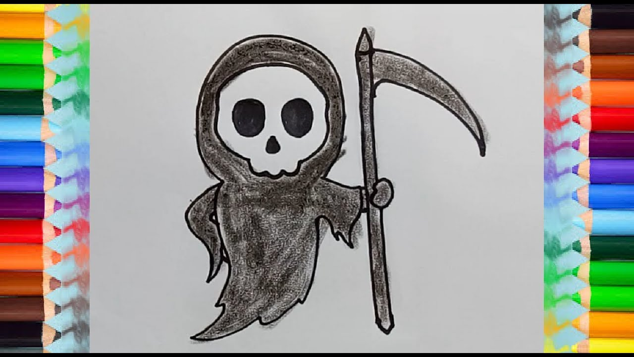 How to draw death step by step for kids easy cartoon drawings